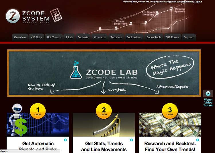 Capture d'écran de la page ZLab de ZCode