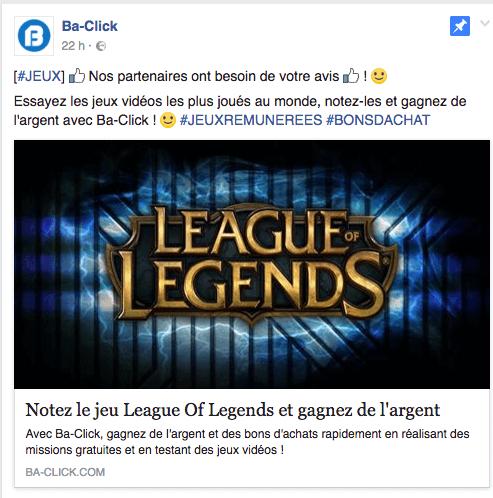Page Facebook de Ba-click