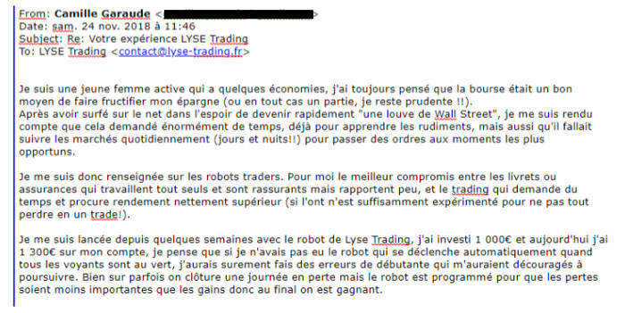 témoignage robot trader Camille